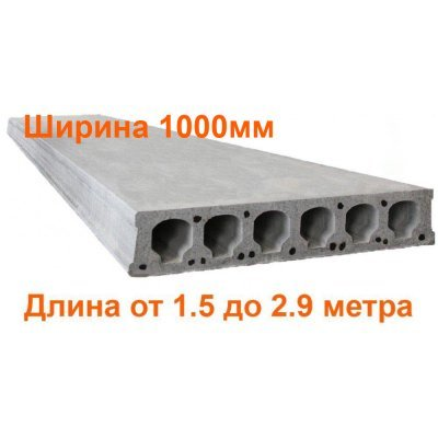 Плиты перекрытия Безопалубного формования длиной 1.5-2.9 метра (ширина 1000мм) (ЖЗЗБВ)