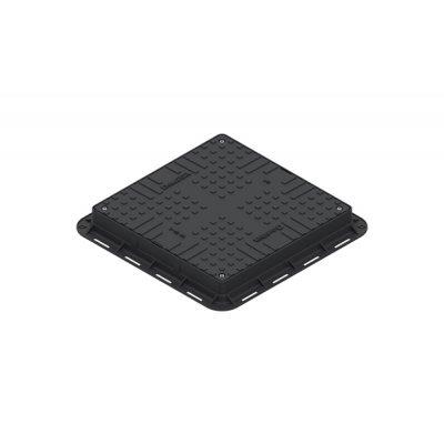 Люк ЛК-56.70.09-ПП легкий (А15) квадратный пластиковый черный с замком 35487-20